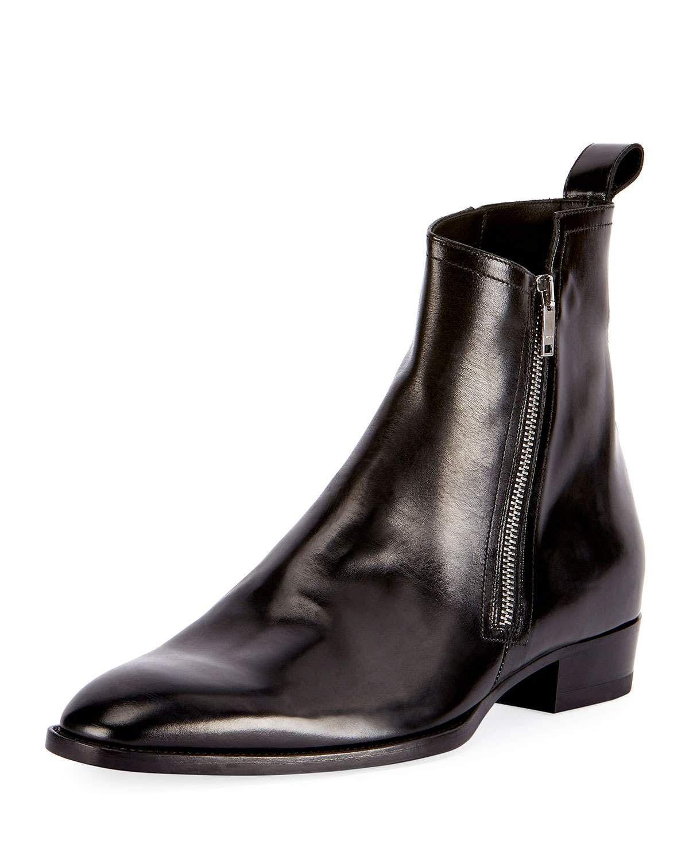 5a62a95adbf0 SAINT LAURENT Wyatt 30 Side-Zip Leather Ankle Boot