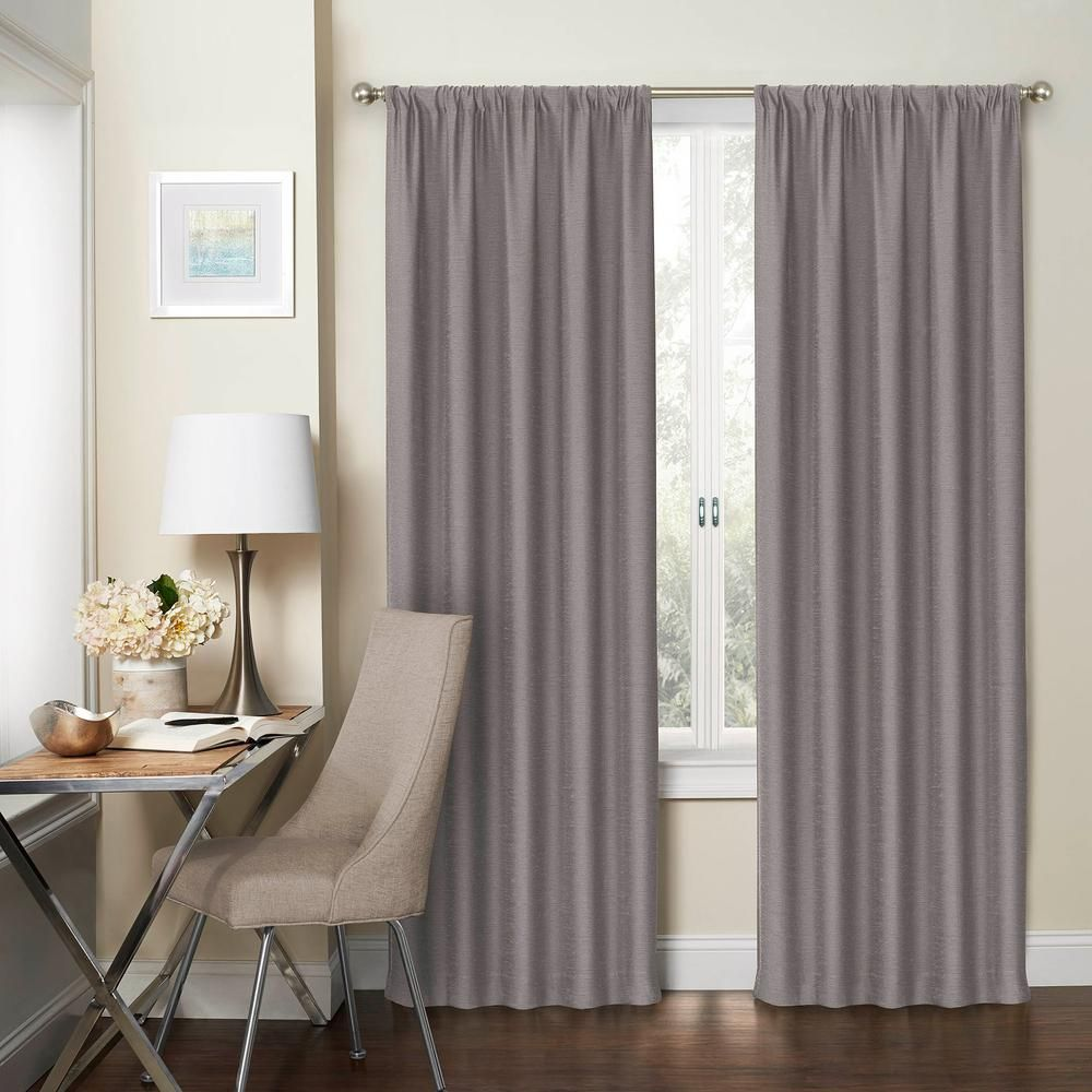 Eclipse Blackout Wallace 95 In L Silver Rod Pocket Curtain 1 Pack