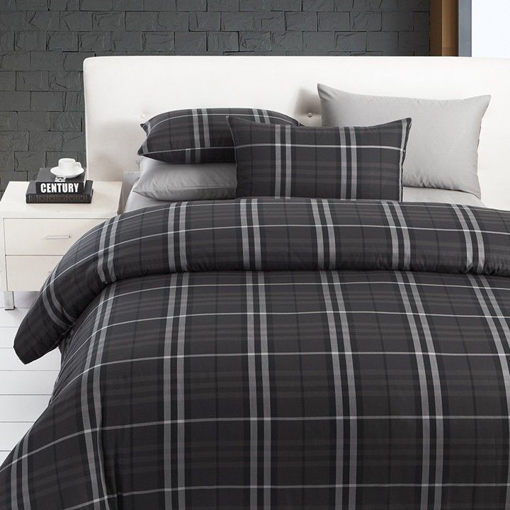 Modern Boys Leisure Black And Grey Plaid Bedding Sets Manly Duvet