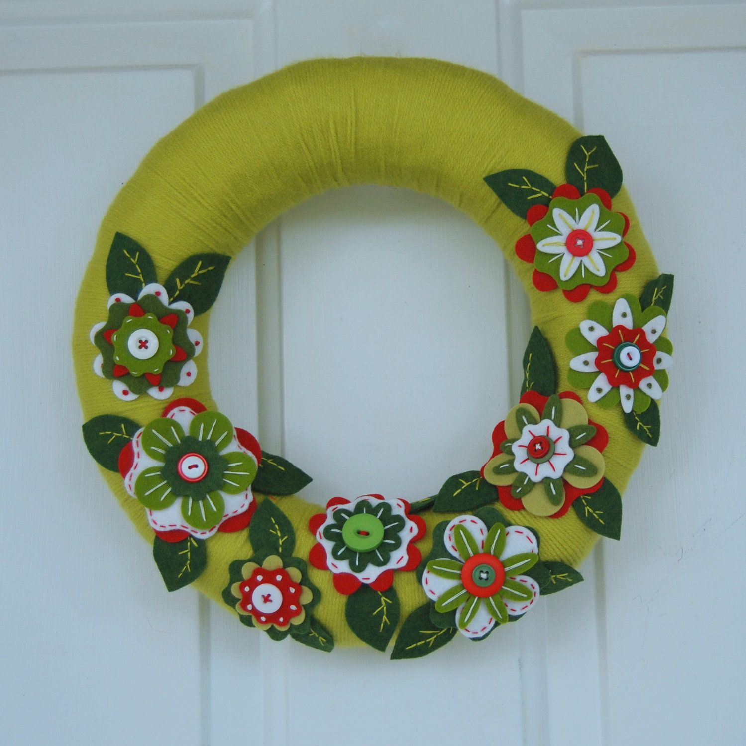 Christmas Wreath  Felt Flower Wreath  Embroidered Button Flowers