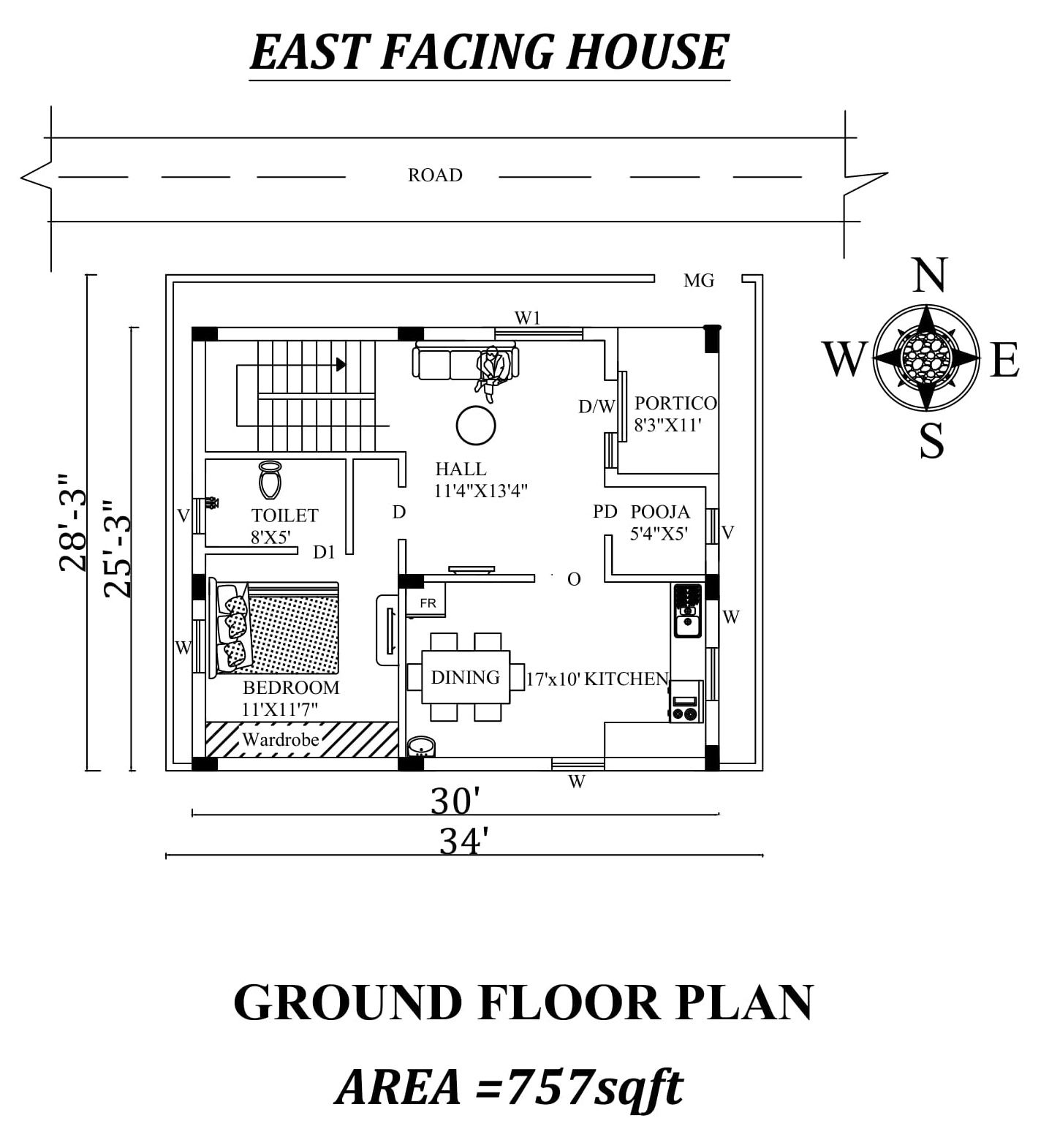 34 X28 3 Ground Floor East Facing House Plan As Per Vastu Shastra Autocad Dwg And Pdf File Details 2bhk House Plan House Plans My House Plans