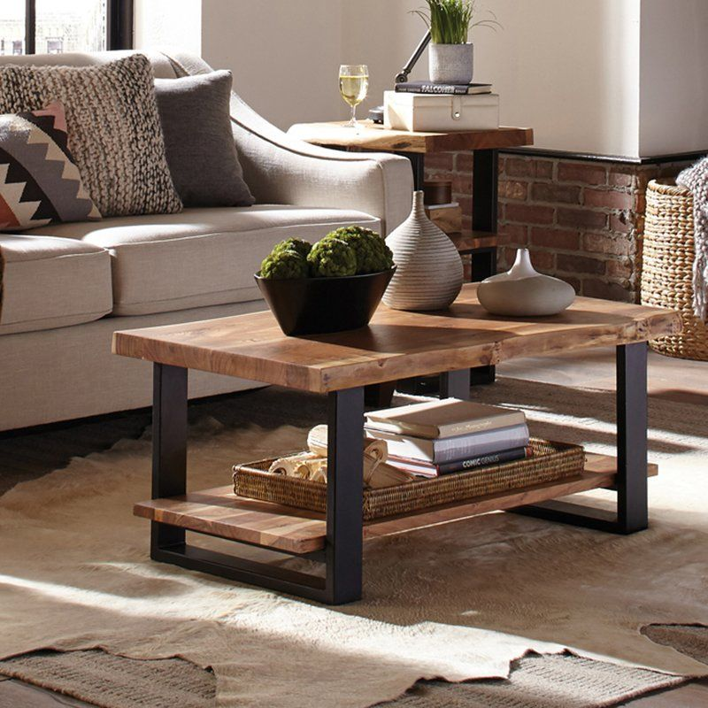 Bexton Live Edge Coffee Table with Shelf Coffee table