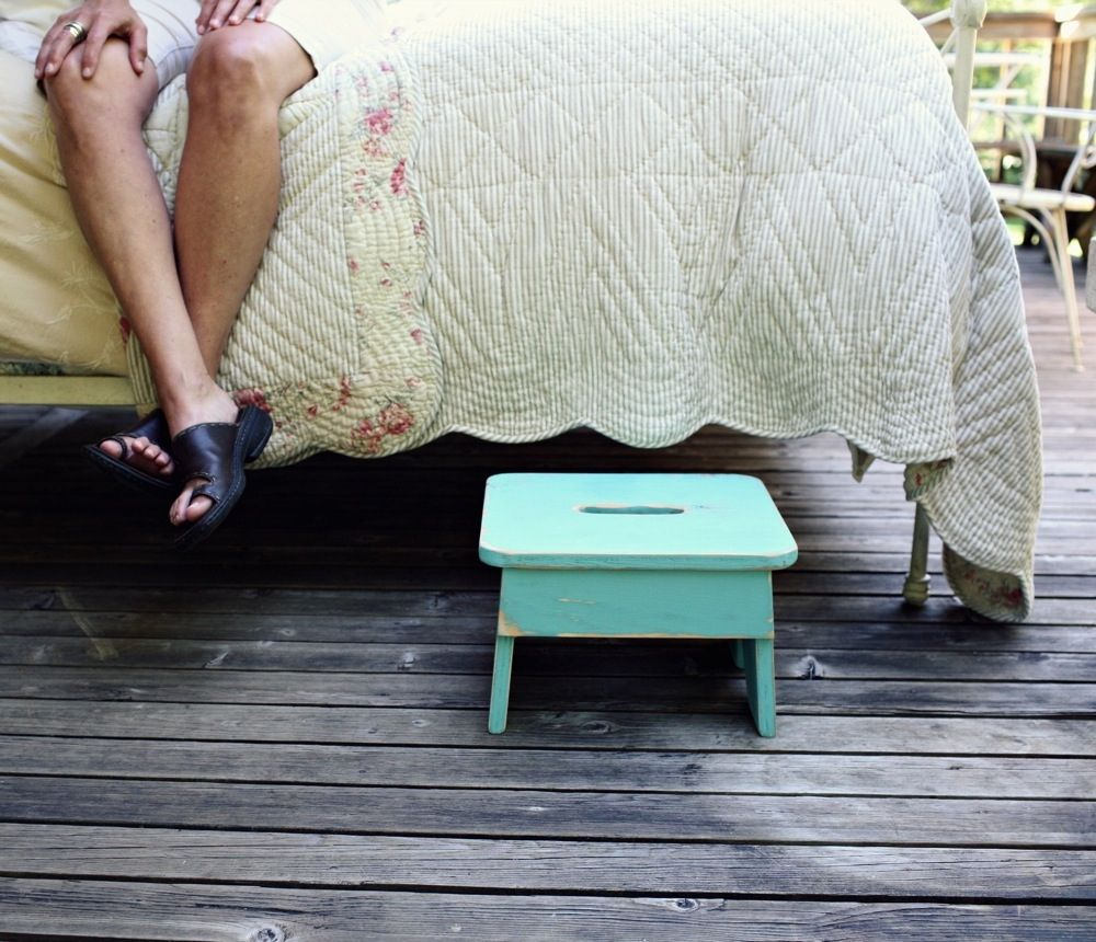 Vintage Style Step Stool No. 3 in Aqua
