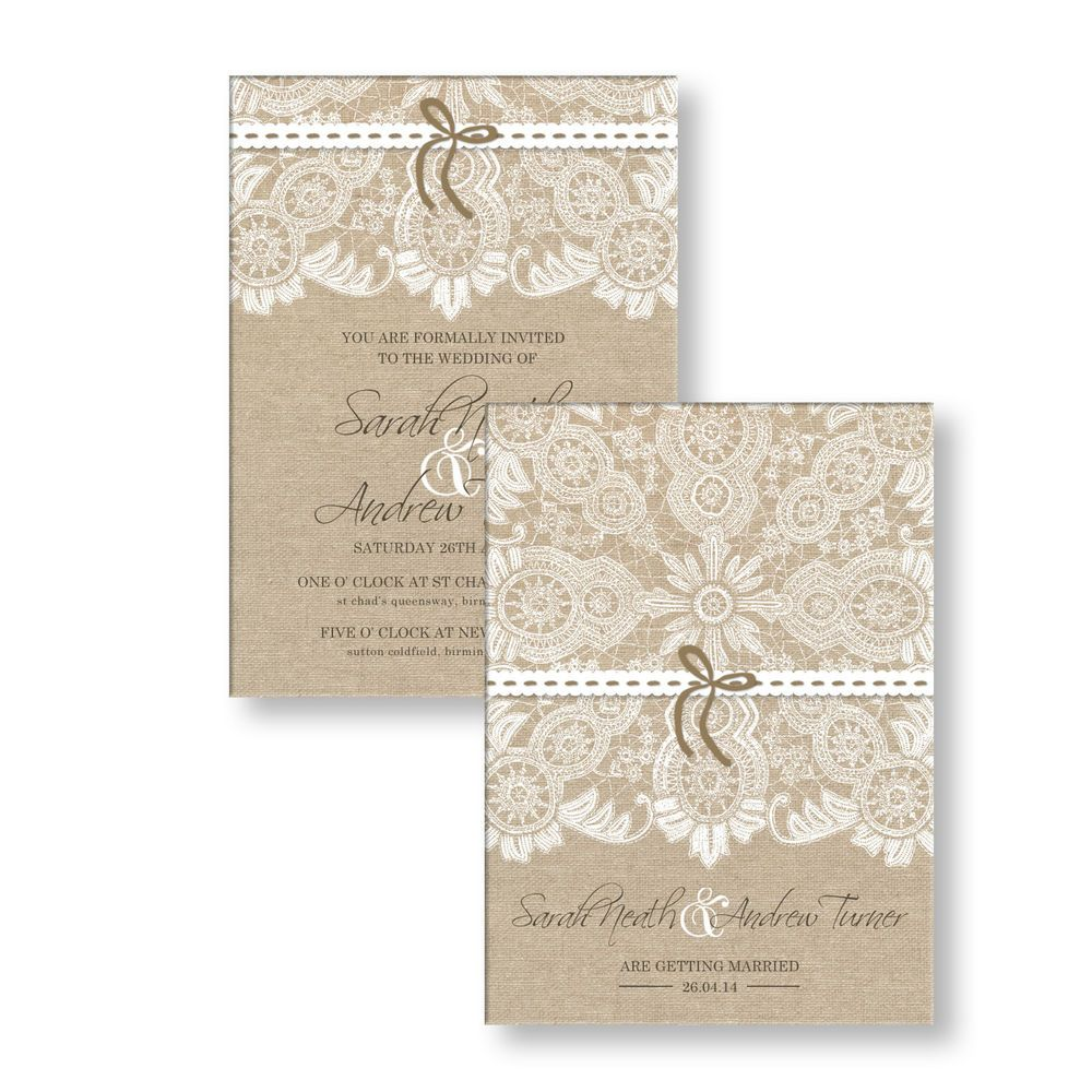 Personalised Wedding Day Evening Invitations Invites Vintage Lace ...
