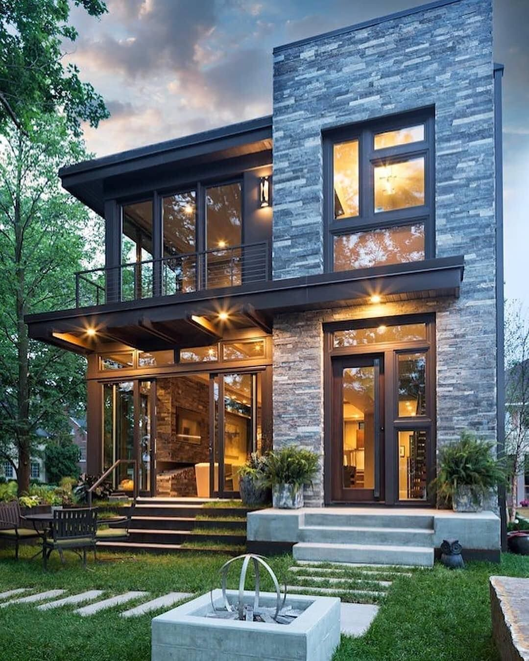 """Modern Organic Home By John Kraemer Sons In Minneapolis Usa: House Exterior On Instagram: """"Lighting Of The House Really Wonderful! Wha Do You Think?? ️ For"""