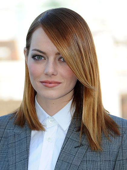 Emma Stone The Amazing Spider-Man 2 red carpet beauty look: sleek straight hair with pale pink blush and lips | allure.com