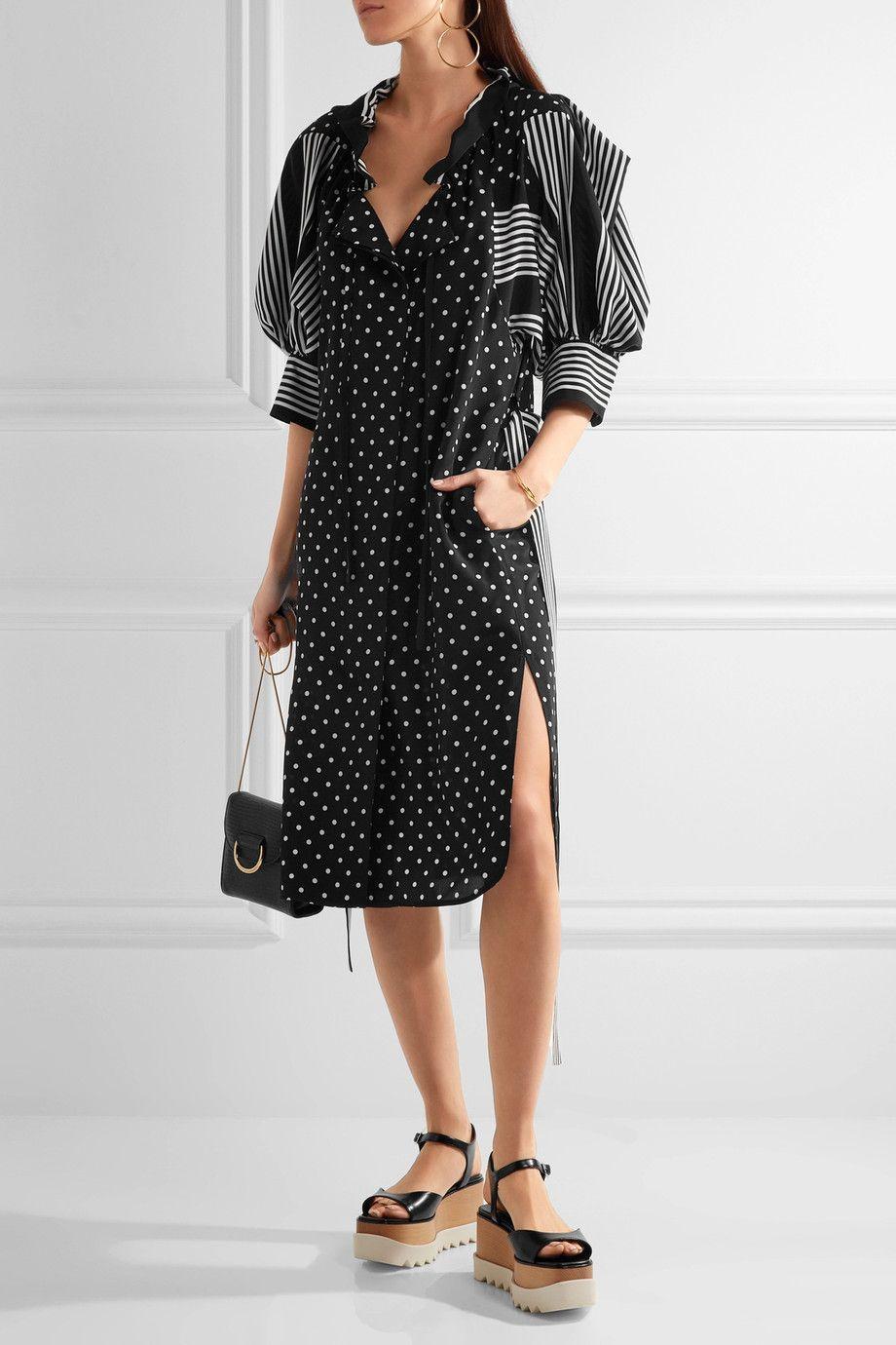 Stella Mccartney Woman Valeria Ruffled Printed Silk Dress Black Size 38 Stella McCartney Sale Amazon KLKNI