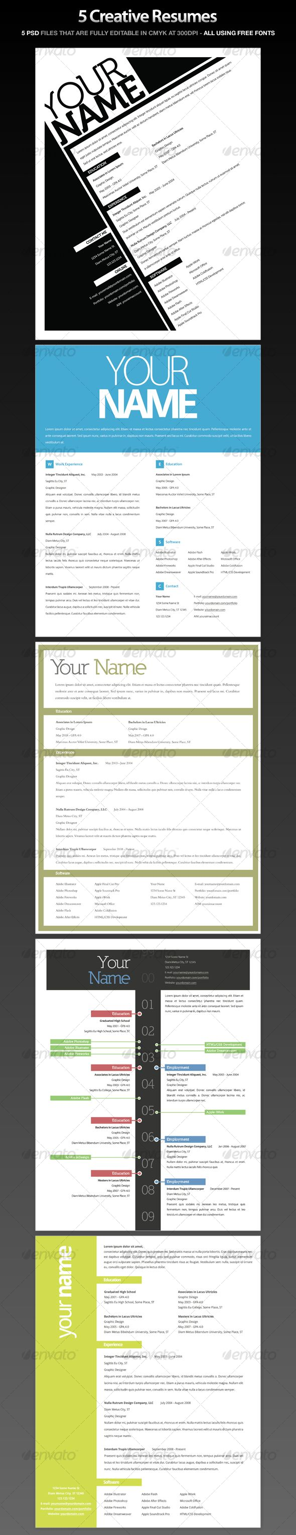 Resumes (5 Pack) | Filing, Template and Helpful hints