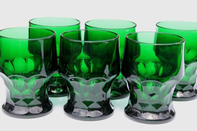Vintage Anchor Hocking Forest Green Georgian Tumblers Set Of 6 Drinking Glasses Green Glassware Green Stemware Green Glass