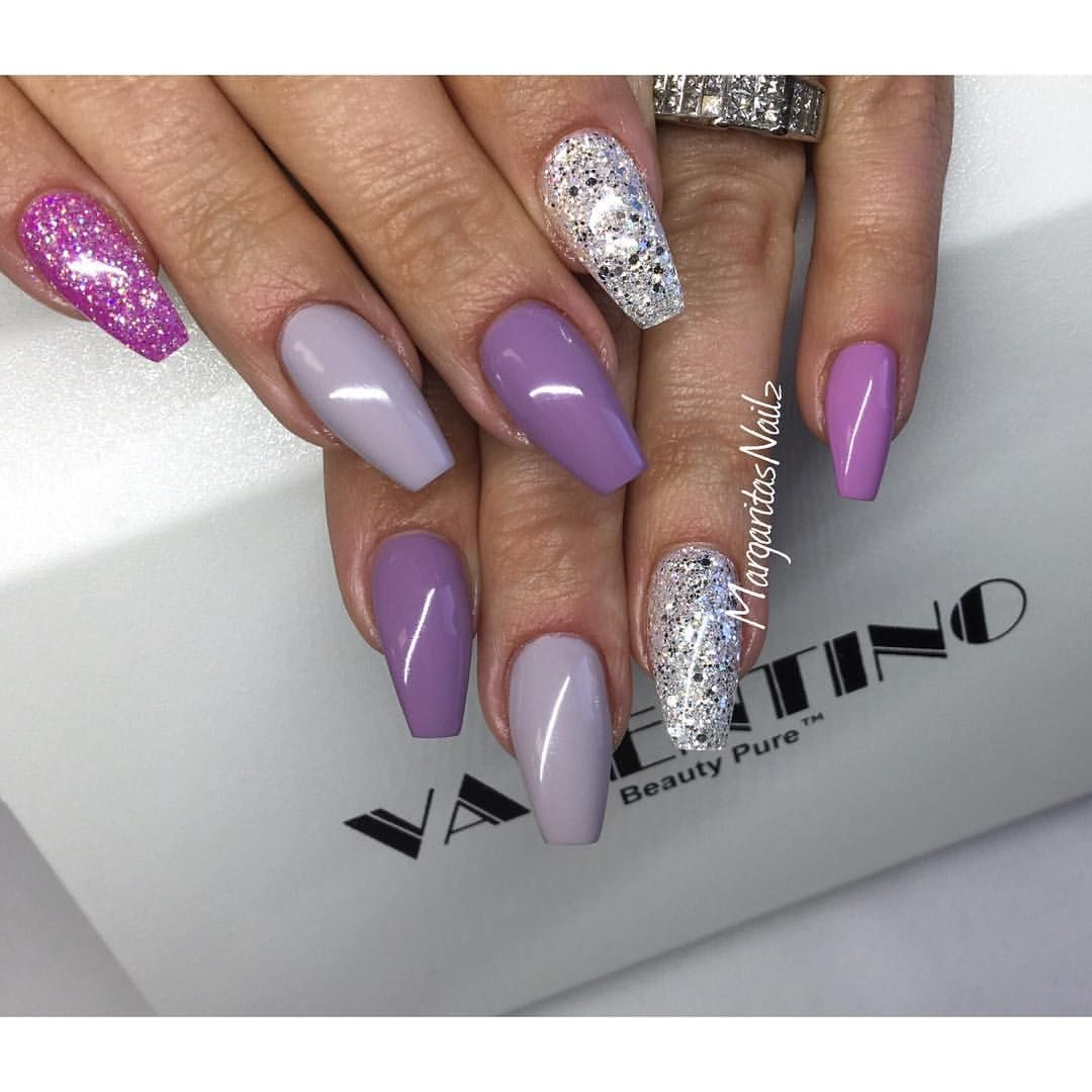 Purple Gray And White Bedroom: Purple And Grey Coffin Nails