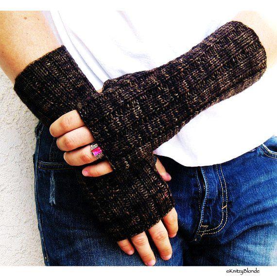 Mens Fingerless Gloves Hand Arm Warmers Washable Merino Wool