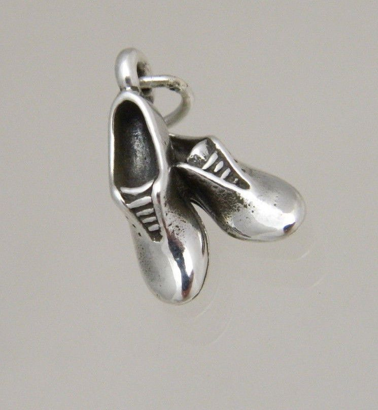 925 Sterling Silver I love Running Shoe Charm Made in USA