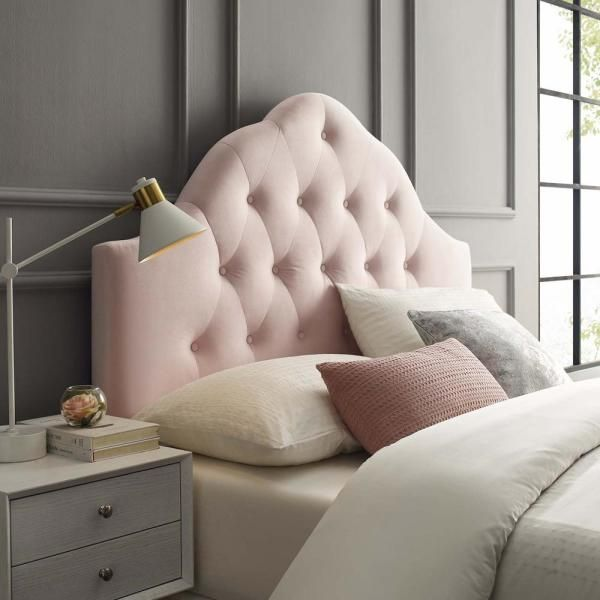 Modway Sovereign Pink Queen Diamond Tufted Performance Velvet