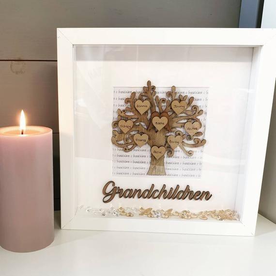 Grandchildren Personalised Handmade frame custom family tree with hearts gift for grandparent grandp #bestgiftsforgrandparents