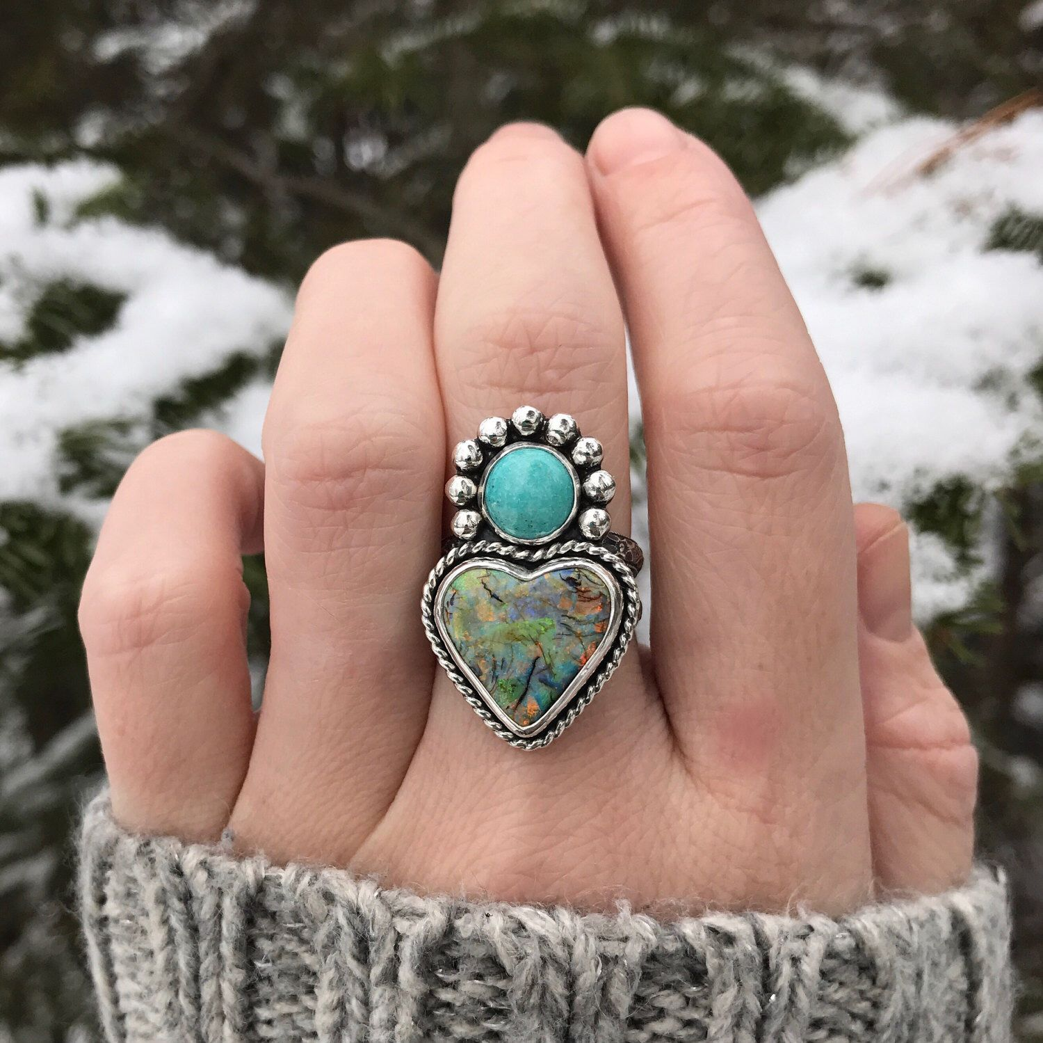 Sterling Silver Monarch opal heart ring with round turquoise! Finger Size 8. by lisajdesigns on Etsy https://www.etsy.com/listing/508173493/sterling-silver-monarch-opal-heart-ring