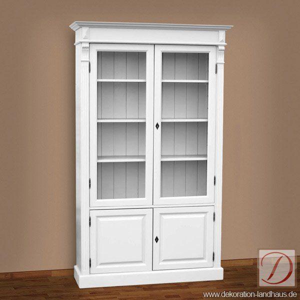 vitrine london wei b119cm pinie massivholz diese wei lackierte vitrine im landhausstil wird. Black Bedroom Furniture Sets. Home Design Ideas