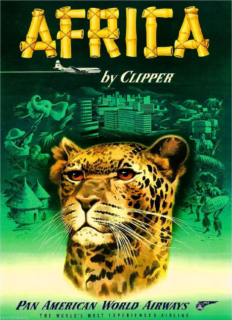 Africa By Clipper African Vintage Travel Advertisement Art Poster