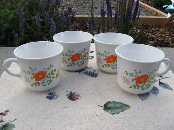 1978 Vintage 4 Corning ware Corelle WILDFLOWER coffee or tea mugs,Discontinued Pattern, Cottage chic, retro tea cups on Etsy, $14.50