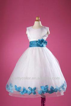 vestidos para ceremonias niña blanco con detalles azul - Buscar con Google