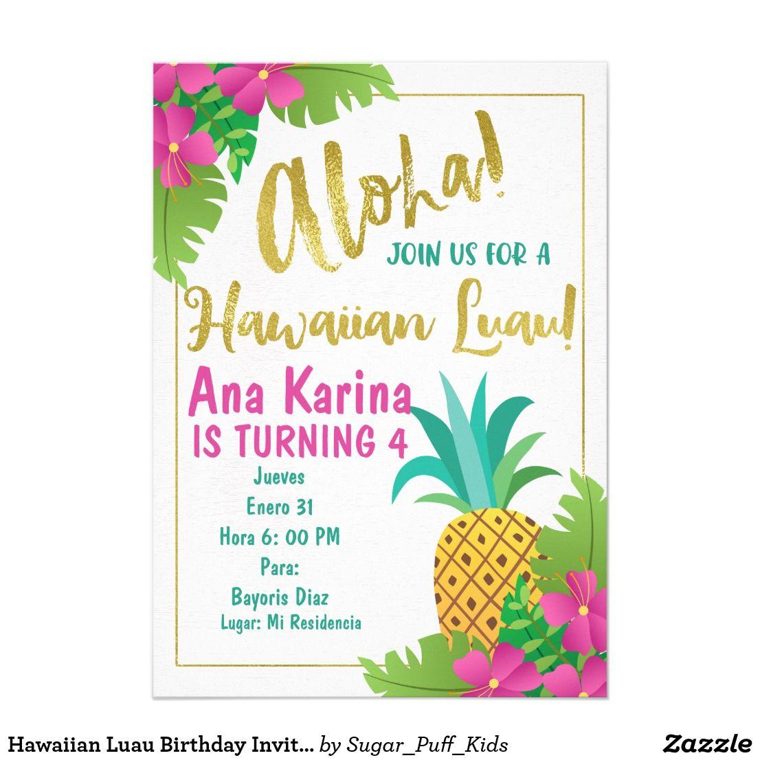 Crea Desde Cero Tu Invitación Zazzle Es Invitaciones Hawaianas Invitacion Hawaiana Invitaciones