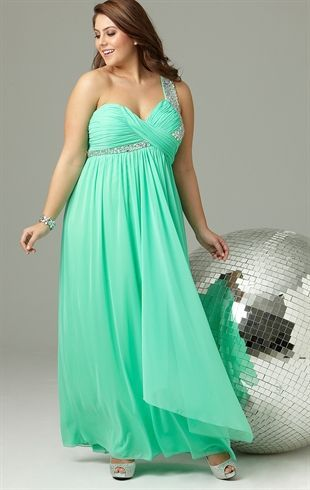 Plus Size Long Prom Dress With One Shoulder Strap With Stones Plus