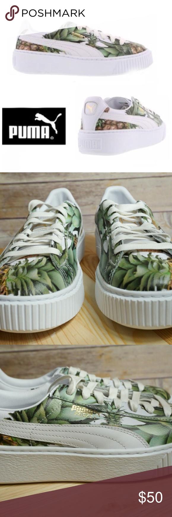 Puma Platform Pineapple White Sneakers Size 8.5   White