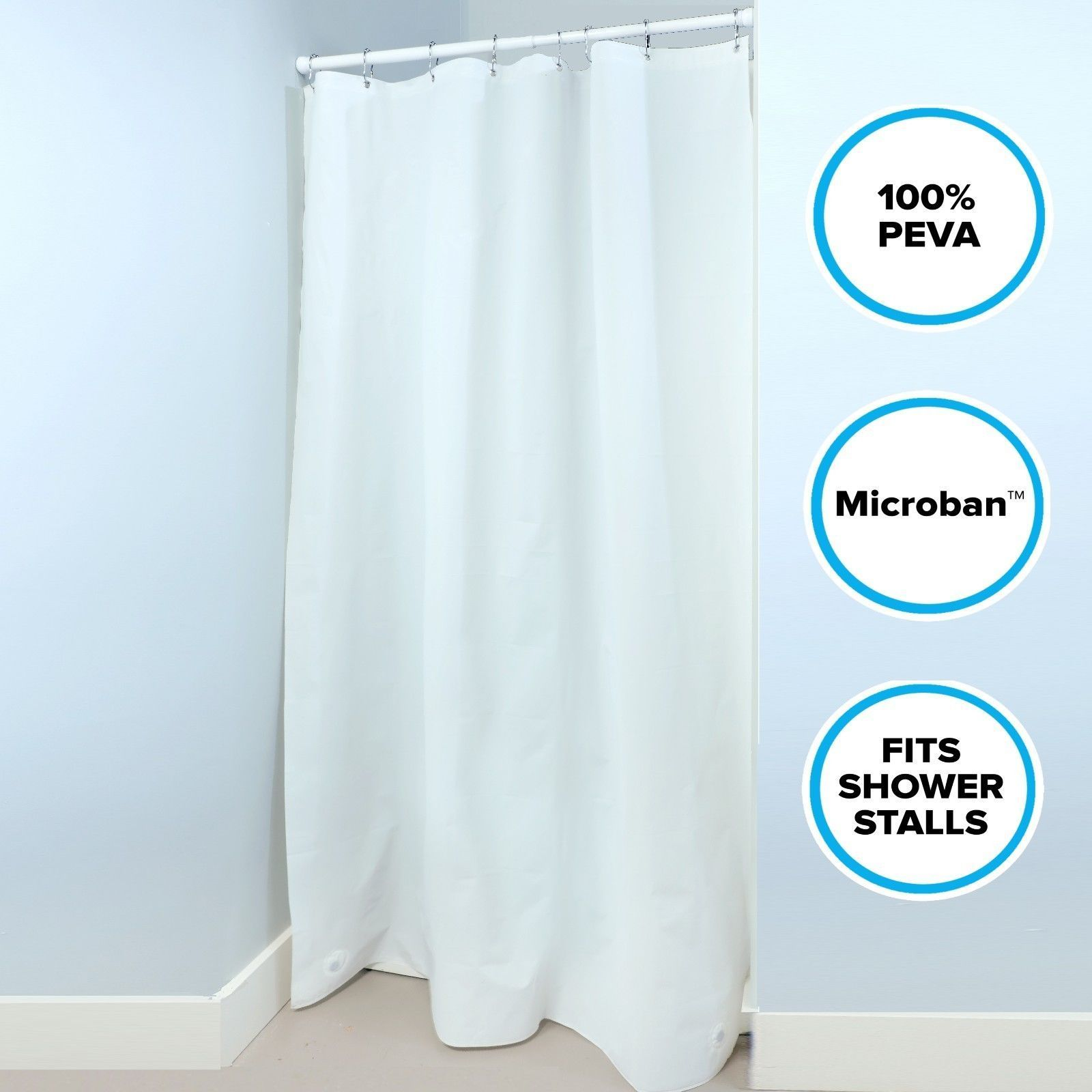54 X 78 Midweight Mildew Resistant Peva Stall Shower Curtain