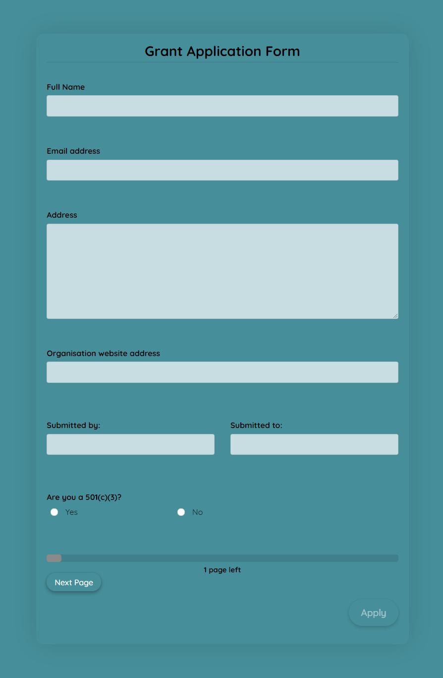 Grant Application Form Grant Application Application Form Templates