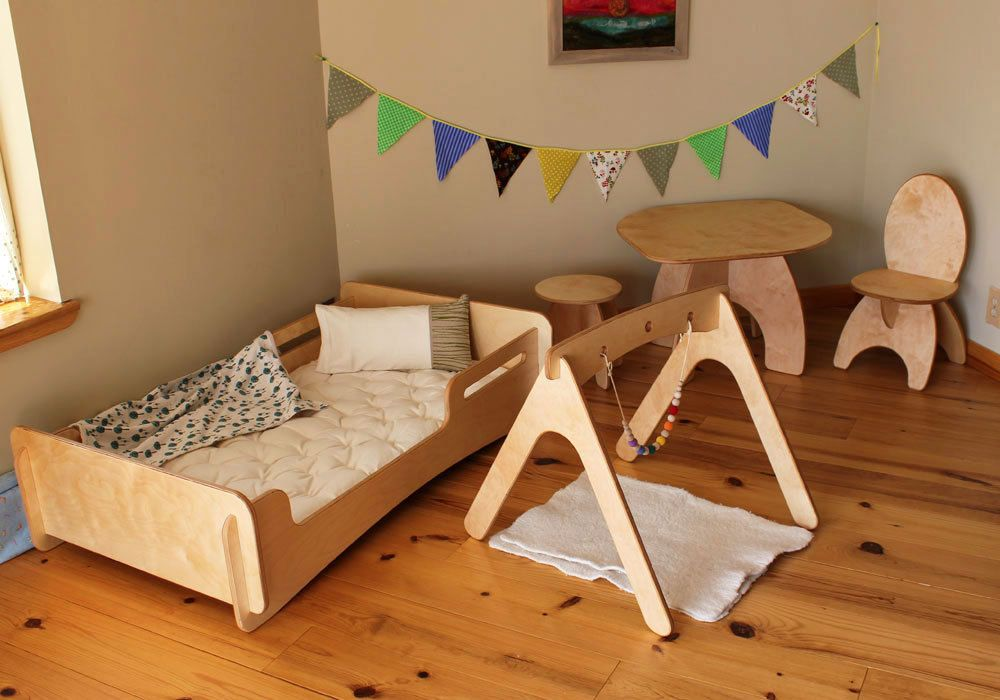Montessori style floor bed play gym table and chairs by