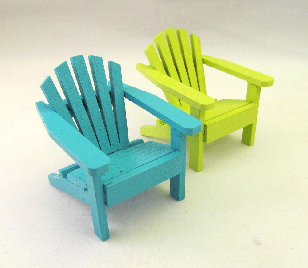 Miniature Wood Adirondack Beach Chair Fairy Garden Cake