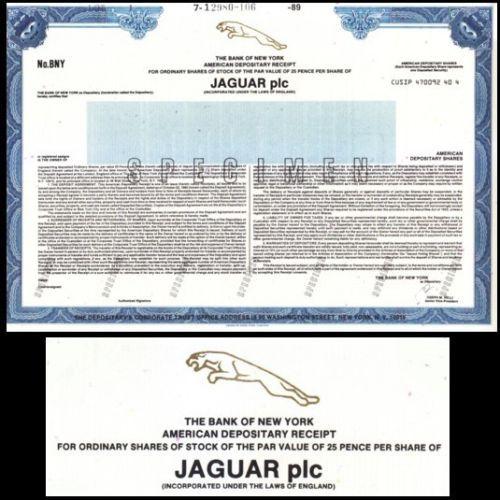 Jaguar Plc England Specimen Stock Certificate American Depository Receipt Stock Certificates Stocks And Bonds England