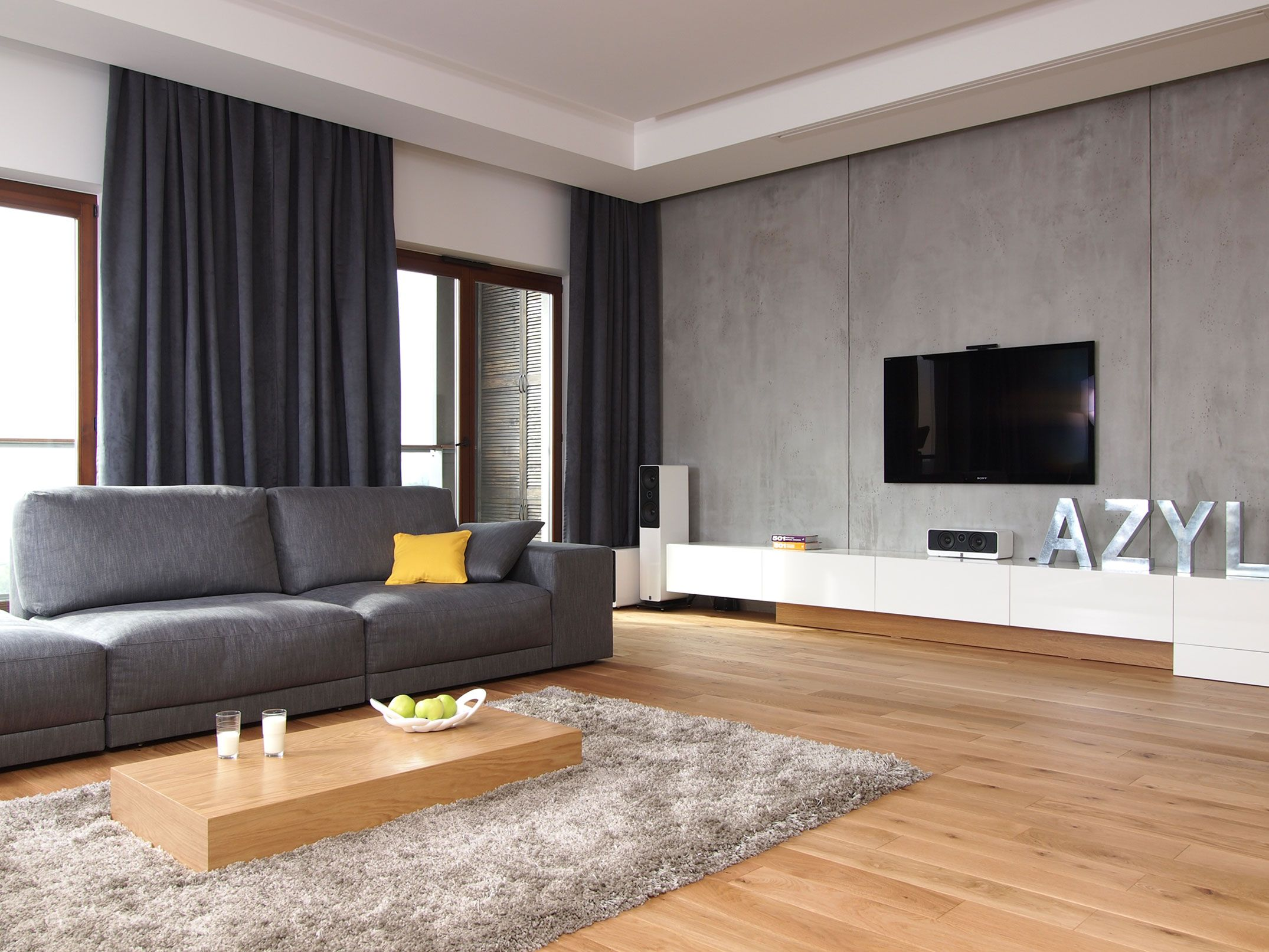 [Living Room] : Elegant Living Room Design With Flat Screen Television  Along With White Drawer Also Available Grey Sofa Sets With Cushion Plus Bay  Window ... Part 97
