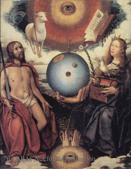 """The Judeo-Christian Eye of God. """"A Christian Allegory"""" by Jan Provost. 16th Century, Belgium."""