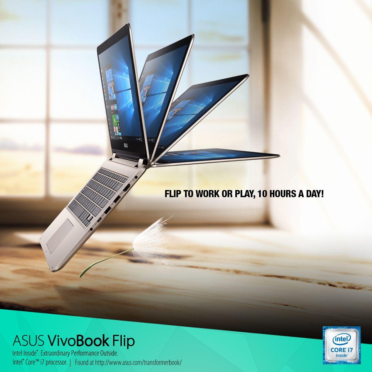 The longer battery life, flexible, 360-degree ASUS #VivoBook Flip