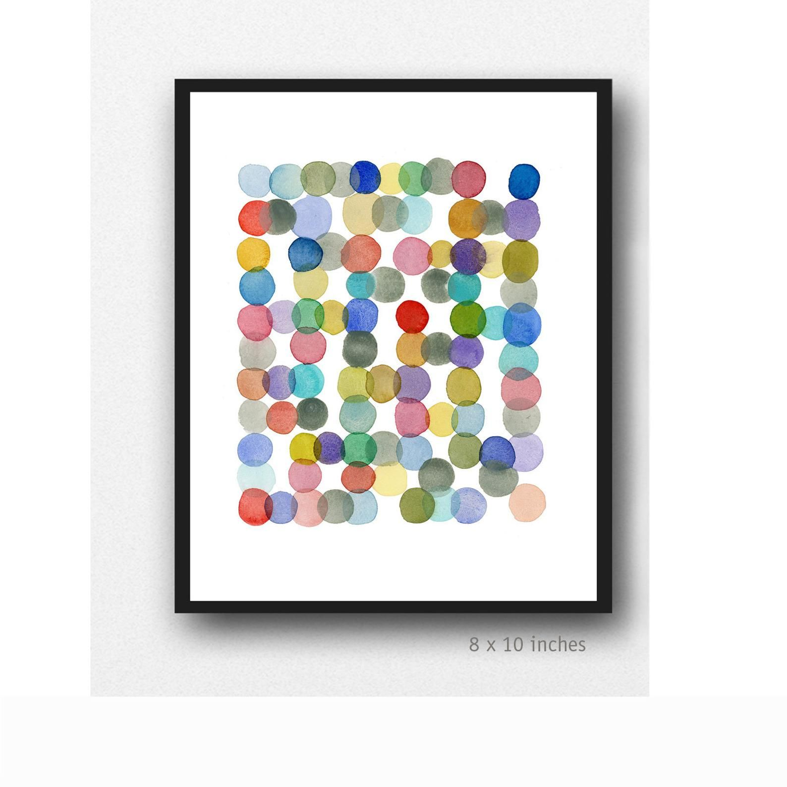 Watercolor Art Print Colored Dots Watercolor Painting Etsy Giclee Print Abstract Watercolor Art Prints Colorful Art