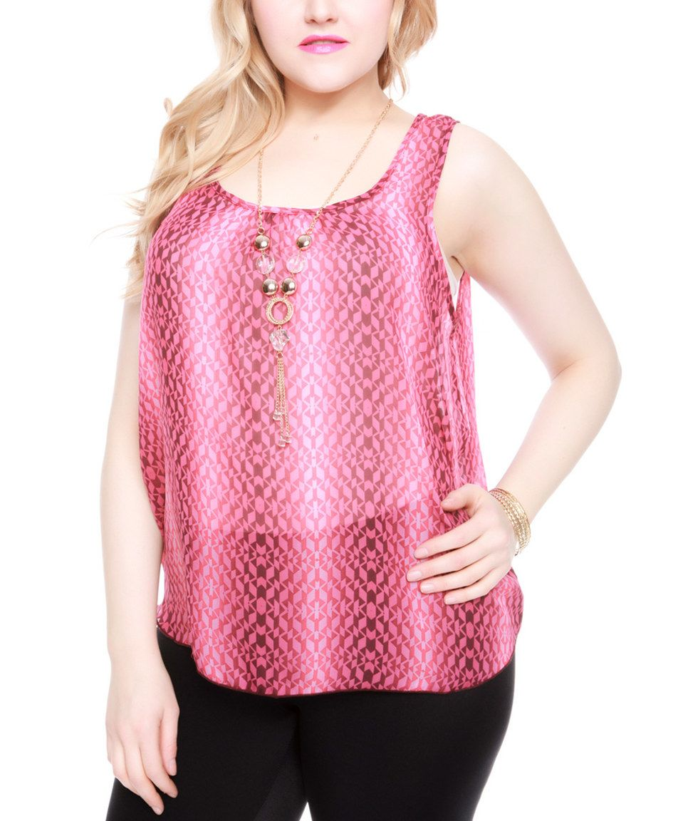 Another great find on #zulily! Cherry Geometric Tank & Necklace - Plus by Buy in America #zulilyfinds