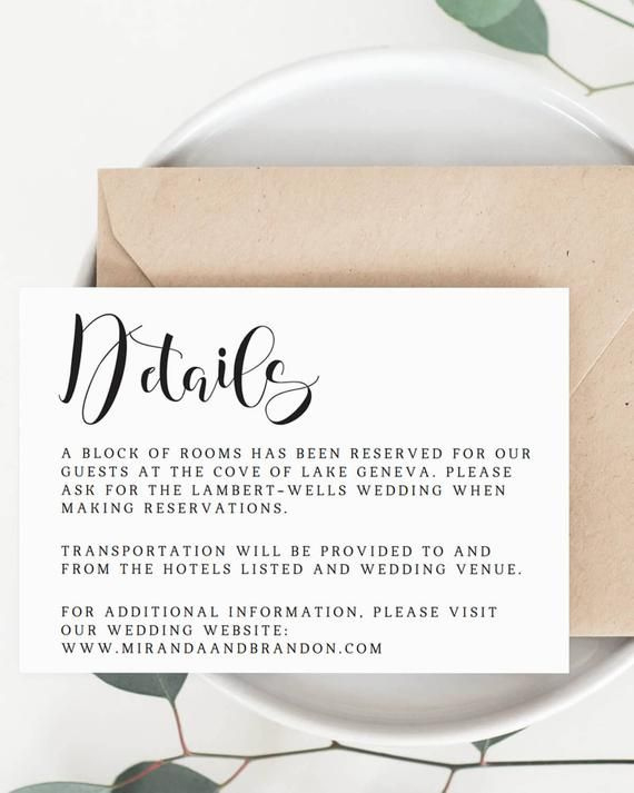 Wedding Details Card Template Wedding Information Card Inside Samples Of Wedding Hotel Infor Wedding Details Card Diy Wedding Templates Wedding Direction Cards