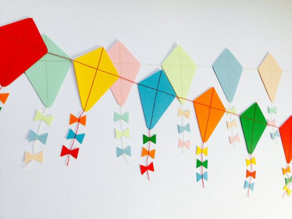 Let S Go Fly A Kite Paper Kite Garland By Papergardensuk On Etsy