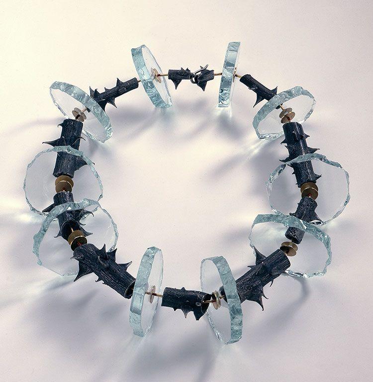 Necklace by Daniel Kruger, 1986. Rose stem segments cast in silver, glass, gold…
