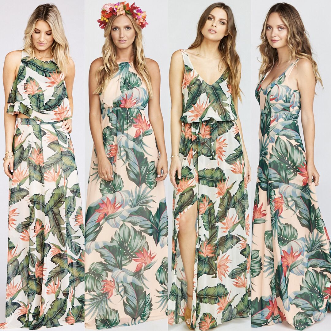 Our Paradise Found Kauai Kisses Prints Mix Perfectly Together For A Tropical Wedding Mum Tropical Wedding Dresses Printed Bridesmaid Dresses Tropical Dress [ 1080 x 1080 Pixel ]