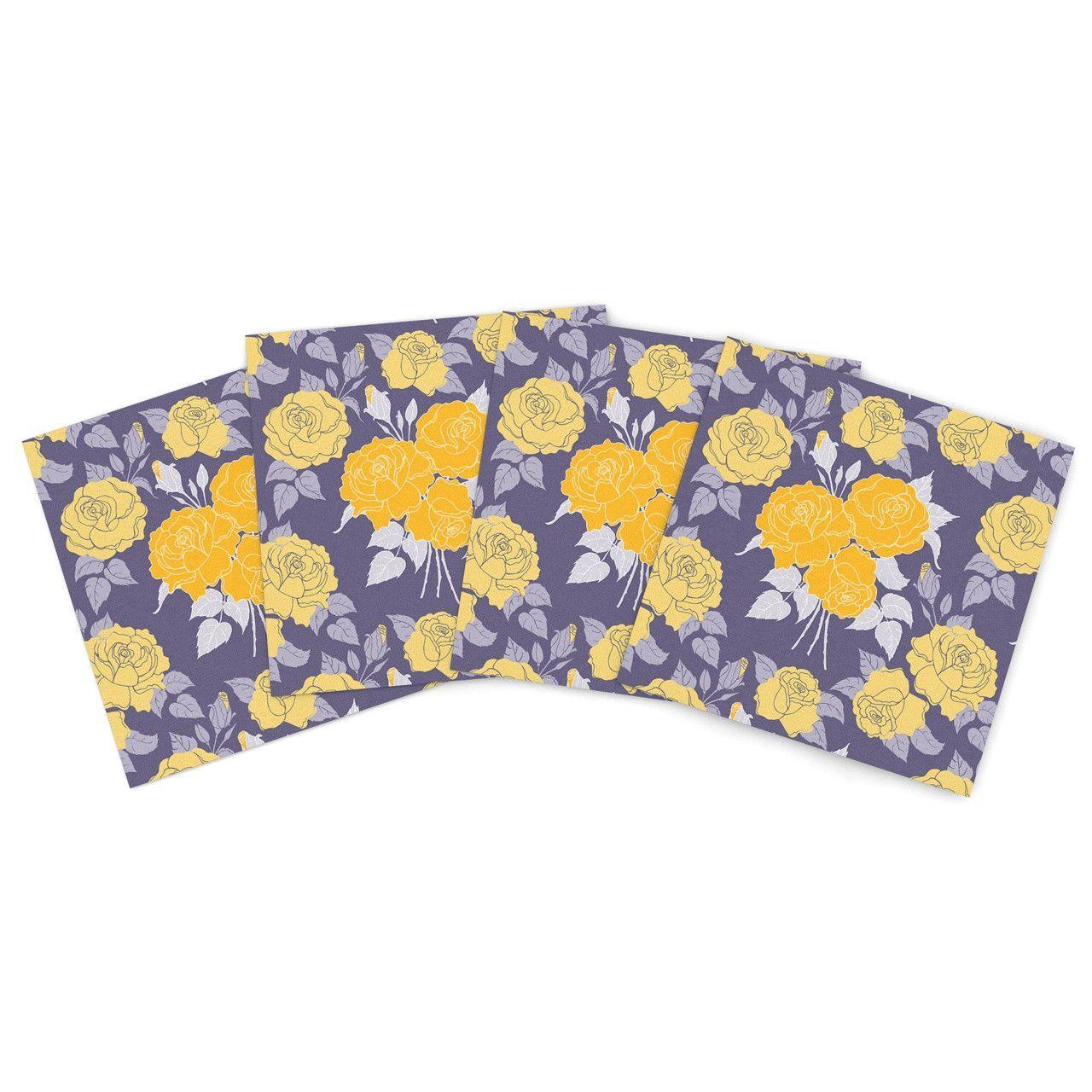 "Anneline Sophia ""Summer Rose Yellow"" Purple Lavender Indoor/Outdoor Place Mat (Set of 4)"