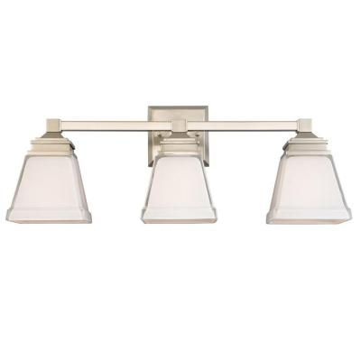 Hampton Bay Landray 3 Light Brushed Nickel Vanity Light With Frosted