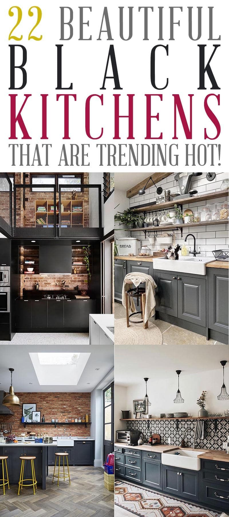22 Beautiful Black Kitchens That Are Trending Hot The Cottage Market Black Kitchens Kitchen World Gorgeous Kitchens