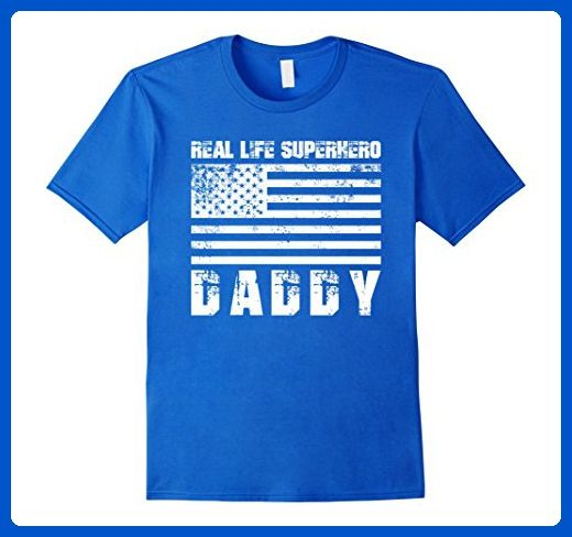 Mens Real Life Superhero Daddy Gift For Dads T Shirt Large Royal Blue - Superheroes shirts (*Amazon Partner-Link)