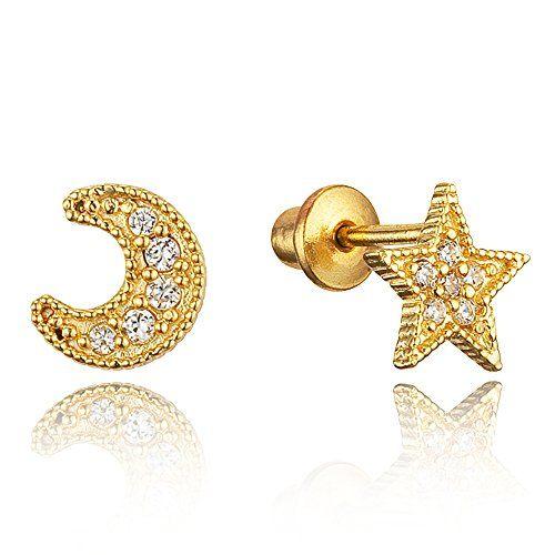 5fc1632ee Children Earrings by Lovearing 14k Gold Plated Brass Moon Star Cubic  Zirconia Screwback Girls Earrings with