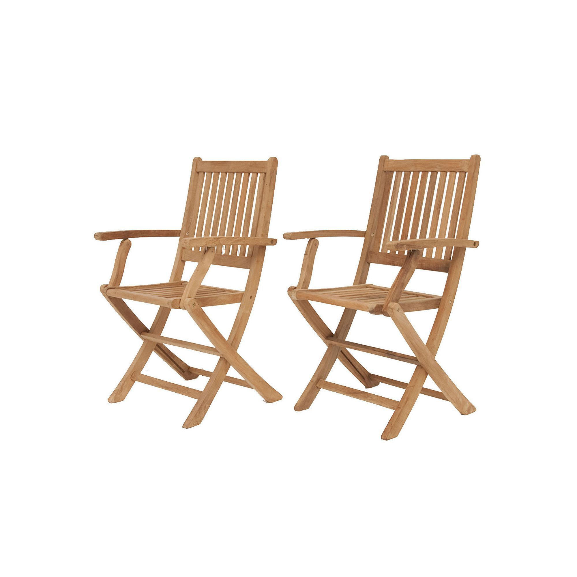 Amazonia Teak Yogya 2 pc Outdoor Folding Arm Chair Set Brown