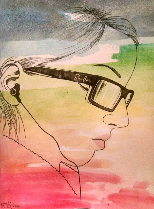Multimedia self-portrait <<< watercolor and ink <<< by Rainbow Dynasty