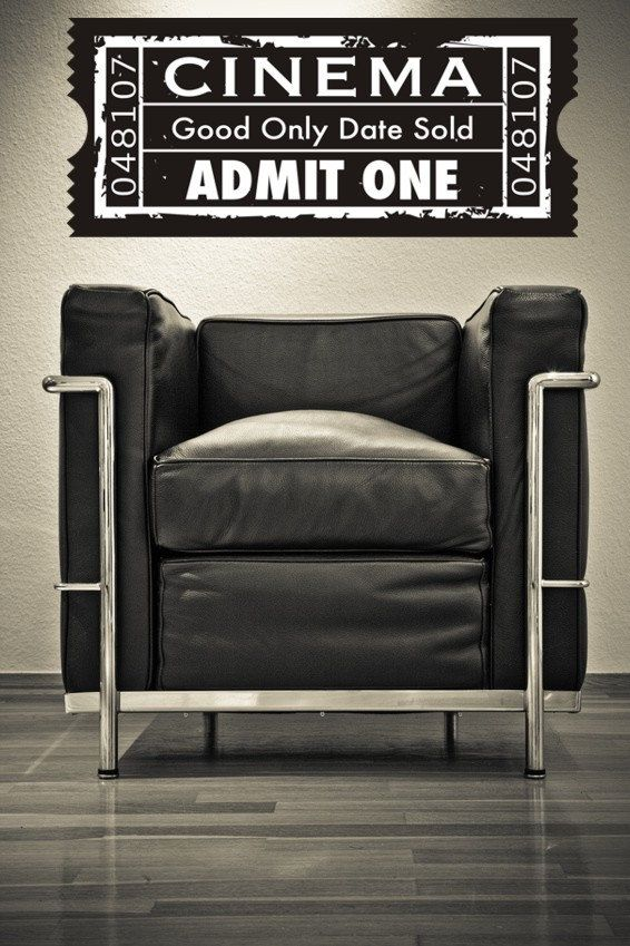Movie Ticket Wall Decal Cinema Wall Decal Theater Wall Decor