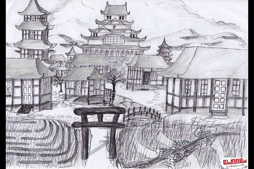 Dessin village japonais drawing japanese village - Village dessin ...