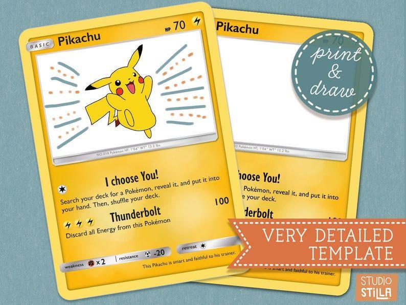 Printable Pokemon Card Template To Decorate Yourself Jumbo Sized Blank Card Fantastic Pokemon Party Printable And Pokemon Crafts Idea Pokemon Card Template Pokemon Craft Pokemon